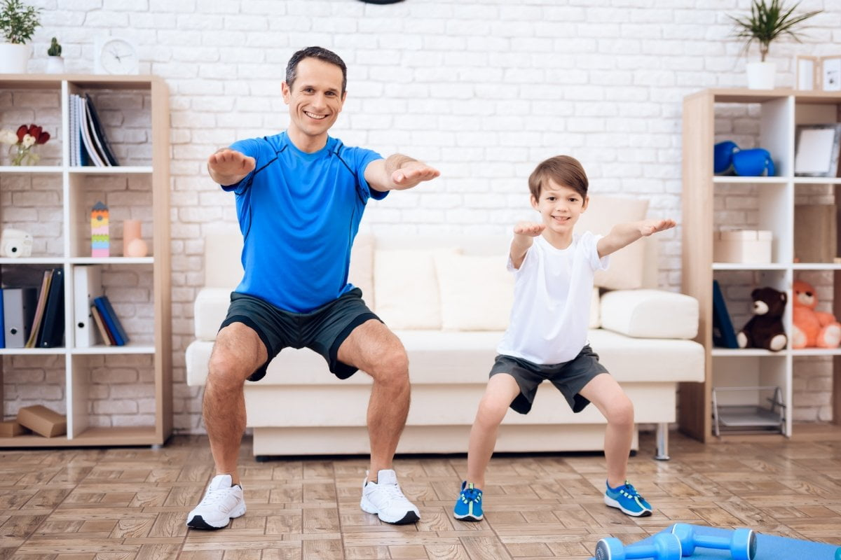 father son exercising