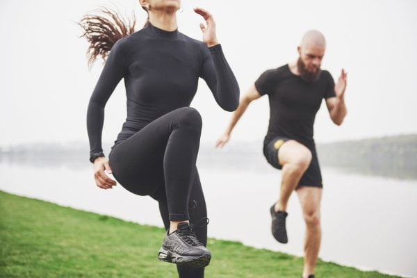 couple wearing compression clothing